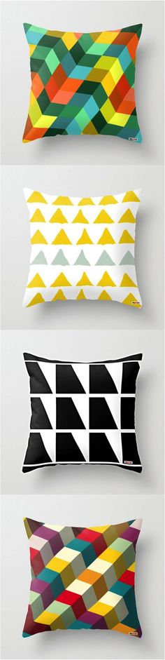 The easiest fix for a dull living room is a bunch of new colorful throw pillows! Add a fun geometric pattern and your eyes will be in heaven! | Made on Hatch.co by independent makers & designers