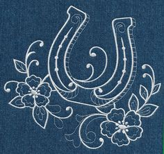 Horseshoe and Flowers (Whitework) design (M4570) from www.Emblibrary.com