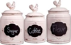 Canisters and Jars 20654: Home Essentials Set Of 3 Chalkboard Kitchen Canisters - White (76227) -> BUY IT NOW ONLY: $64.34 on eBay!
