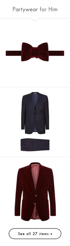 """""""Partywear for Him"""" by harrods ❤ liked on Polyvore featuring men's fashion, men's accessories, men's neckwear, bow ties, men's clothing, men's suits, mens holiday suits, mens wool suits, mens tailored suits and canali men's suits"""