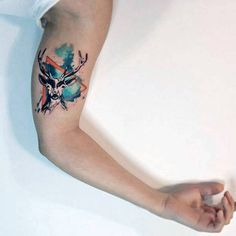 Mens Antler Watercolor Tattoo On Arms