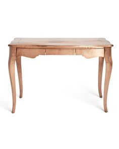 COPPER DESK BY MANGLAM ARTS FROM ANTHROPOLOGIE   Paint a salvaged desk or table copper for a bath with copper fittings ...