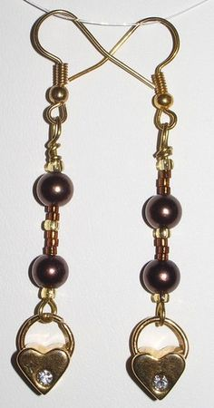 Dangling Heart Chocolate Bronze Pearl Gold Glass Beads Unique Earrings | MJOYS - Jewelry on ArtFire