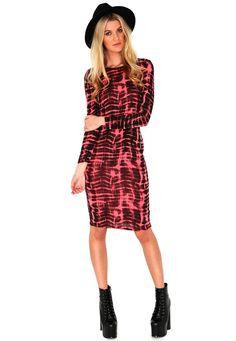 Kirnea Tie Dye Long Sleeve Midi Dress In Coral
