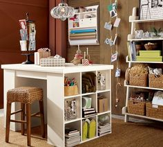 table & wall-mounted gift wrap organizer