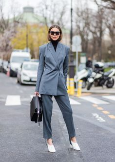 Grey Suit with White Heels