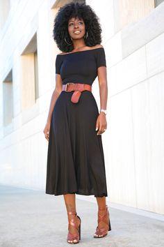 Style Pantry   Black Off Shoulder Swing Midi Dress