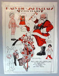 Art Deco Magazine Paper Doll Mary Lous Santa Claus by Lydia Fraser 1932 | eBay
