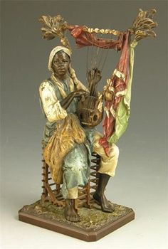 Antique Blackamoore Cold Painted Vienna Bronze Sculpture