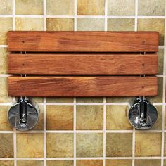 Clevr Teak Wood Modern Folding Shower Seat Bench, Clear Coated for Protection and Premium Smooth Finish, Medical Wall Mount Foldable Fold Up Chair Bathroom Stool Foldaway Shower Seating Wood Shower Bench, Shower Seat, Shower Benches, Shower Floor, Fold Up Chairs, Bathroom Furniture, Bathroom Ideas, Bathroom Chair, Bath Ideas