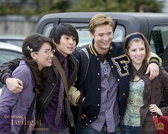 Bella's human friends - Angela (Christian Serratos), Eric (Justin Chon), Mike (Michael Welch) and Jessica (Anna Kendrick). (Twilight)