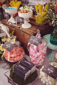 Candy Table ideas.  Maybe try different colors and styles