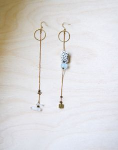 asymmetrical bead & chain earrings $42 from yellowgrey on Etsy