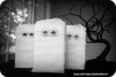 """From your comments on yesterday's post, the consensus was my mummies were more """"ghosts of mummies past"""" {in Claire's words} than mummies. LOL I agree. They did look like 1/2 ghosts, 1/2 mummy. I loved Wendy's suggestion of """"dirtying"""" them up with ink"""
