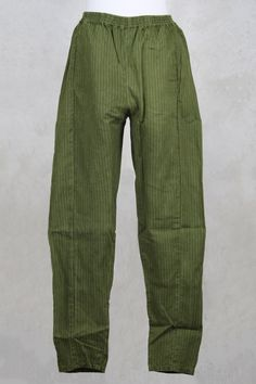 Loose Fitted Trousers in Olive Green Stripe - Privatsachen