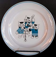 Arabia Child's Plate 3 Cat Orchestra Blue White Band Finland Kaj Franck Rare EUC #Arabia
