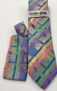Stacy Adams Tie & Hanky Set Green, Blue, Gold Men's Hand Made 100% Microfiber #StacyAdams #Tie