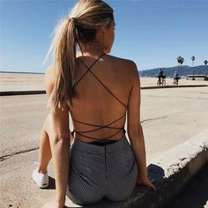 2b8816bd40e5 Cotton Bodysuit Women 2018 Summer Sexy Open Back Crop Top Backless Jumpsuit  Romper Spaghetti Strap Overalls Party Black Playsuit