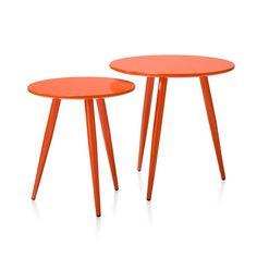 Roos bijzettafel set rond oranje Coco Maison