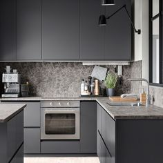 Kitchen door Voxtorp has a smooth, matte finish and integrated handle makes your kitchen get a clean, open and modern look. Kitchen Design Small, Modern Kitchen Interiors, Modern Kitchen Design Grey, Grey Kitchen Designs, Home Decor Kitchen, Grey Kitchen, Kitchen Interior, Interior Design Kitchen, Kitchen Furniture Design
