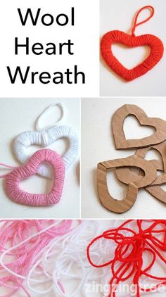 I love these simple heart wreath decorations. All you need are some card scraps (I used old packing boxes) and some cheap wool/yarn.