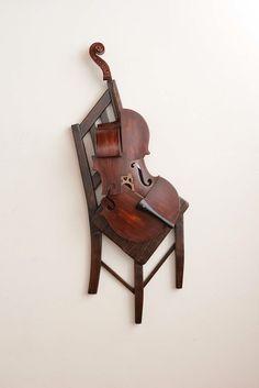 art sculpture guitar bass violin Strings viola cello classical music Cubism koji takei