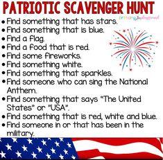 Patriotic Scavenger Hunt #memorialdayscavengerhunt #fourthofjulyscavengerhunt #americascavengerhunt #kindergarten