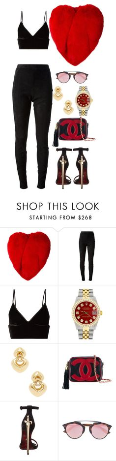 """""""Untitled #3497"""" by fashionhypedaily ❤ liked on Polyvore featuring Yves Saint Laurent, Jean-Paul Gaultier, T By Alexander Wang, Rolex, Bulgari, Chanel and Cesare Paciotti"""