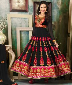 #ShraddhaKapoor looks stunning in this Red & Black #PartywearAnarkali Suit.  Get Extra 20% OFF   Get This Look here:- http://www.shoppers99.com/all_sales/shraddha_kapoor_stylish_long_anarkali_suits
