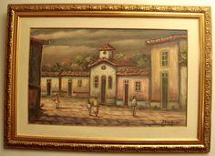 "J. MARCOCELINHO - ""Casário"" - Óleo sobre tela - ACID. Aprox: 74x1,03cm"