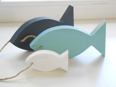 Nautical Home Decor -  Wooden fish decor for home, nursery.  These colors match perfectly!