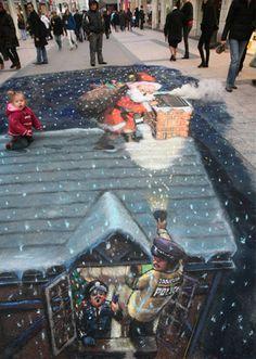 50 More Breathtaking 3d Street Art (paintings)  Santa Claus, London, England  Julian Beever, artist.