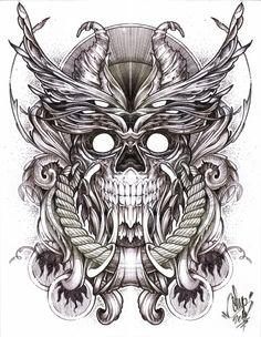 Winged Skull Design by hatefueled on DeviantArt Black Ink Tattoos, Skull Tattoos, Sleeve Tattoos, Tatoos, Skull Tattoo Design, Tattoo Designs, Skull Design, Tattoo Sketches, Drawing Sketches