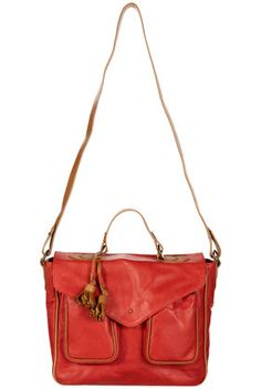 Red Leather Piped Tassel Satchel
