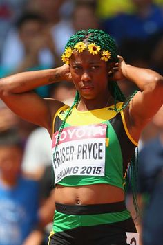Shelly-Ann Fraser-Pryce, of Jamaica, after competing in the women's heats during day two of the IAAF World Championships, Beijing 2015 (Getty Images) Athletic Models, Athletic Women, Shelly Ann Fraser, Jackie Joyner Kersee, Flo Jo, Bob Marley Legend, Adidas Soccer Shoes, Female Fitness, People