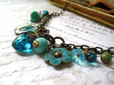 charm necklace Ocean Blues brass vintage charms by Candies64, $44.00