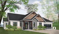 Plan de maison champêtre rustique, plafond 9', 3 chambres 2 salles de bain, garage double, garde-manger, foyer