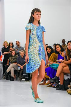 threeASFOUR presents colorful and stunning 3D printed 'Oscillation' dress at NYFW