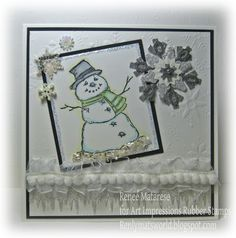 Snowman Christmas-Winter snowflake card.  Snowman by Art Impressions Rubber Stamps.