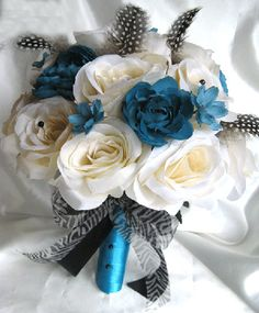 Wedding bouquet Bridal Silk flowers TURQUOISE by Rosesanddreams, $179.99