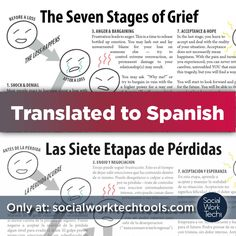 socialworktech:  Recently posted on Social Work Tech is a Spanish Translation of a Social Work Tech Tool I made several years ago for my clients. Las Siete Etapas de Pérdidas: The Seven Stages of Grief I know there are a lot of folks on here that work with monolingual Spanish Speakers and I know that resources are sparse unless you make them… Spread the word :)