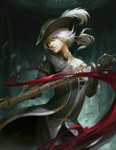 Anime picture with bloodborne lady maria of the astral clocktower firefly light long hair single tall image looking at viewer highres blue eyes fringe white hair holding lips hair between eyes smoke sheathed blood stains low ponytail bloody clothes girl Fantasy Characters, Female Characters, Lady Maria, Arte Dark Souls, Persona Anime, Soul Saga, Bloodborne Art, Old Blood, Dark Blood