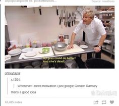 "Chef Gordon Ramsey on ""Kitchen Nightmares"" Gordon Ramsay Funny, Chef Gordon Ramsay, Gordon Ramsay Twitter, Gordon Ramsay Quotes, Idiot Sandwich, I Need Motivation, Gordon Ramsey, Le Chef, Funny Tumblr Posts"