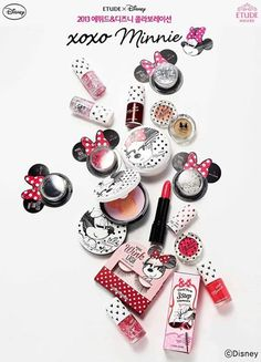 "House x Disney collaboration: xoxo Minnie Etude House and Disney ""xoxo Minnie"" collection. Released Fall House and Disney ""xoxo Minnie"" collection. Etude House, Skin Makeup, Beauty Makeup, Drugstore Beauty, Mouse Make Up, Poupées Our Generation, Makeup Package, Disney Makeup, Korean Make Up"