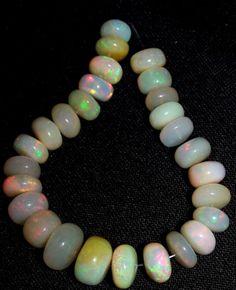 """43 Ct Flashy Premium Ethiopian Welo Opal Roundelle Beads 7.5 to 10 MM AAA 5 """""""