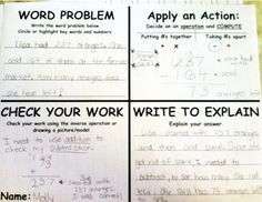 idea to use to solve math word problems in our math journals Math Teacher, Math Classroom, Teaching Math, Teaching Ideas, Maths, Classroom Ideas, Classroom Tools, Math Fractions, Teaching Materials