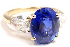 CARTIER 3.81CT Ceylon Sapphire & Diamond Yellow Gold Ring