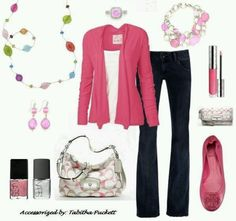 Jelly Bean necklace & Perfectly Pink braclet & earrings from Premier Designs Jewelry looks great with this outfit!.
