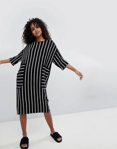 726c31ee245b Monki Midi Stripe T-Shirt Dress Dress Outfits