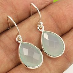 Natural AQUA CHALCEDONY Checker Gemstones Amazing Earrings 925 Sterling Silver #Unbranded…